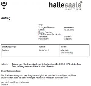 Die CDU stellt einen Antrag auf ein Schlauchboot