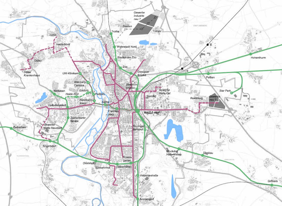 Halle plan straßenbahn Öffentliche Verkehrsmittel