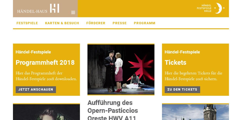 Webauftritt Händel-Haus und Händelfestspiele