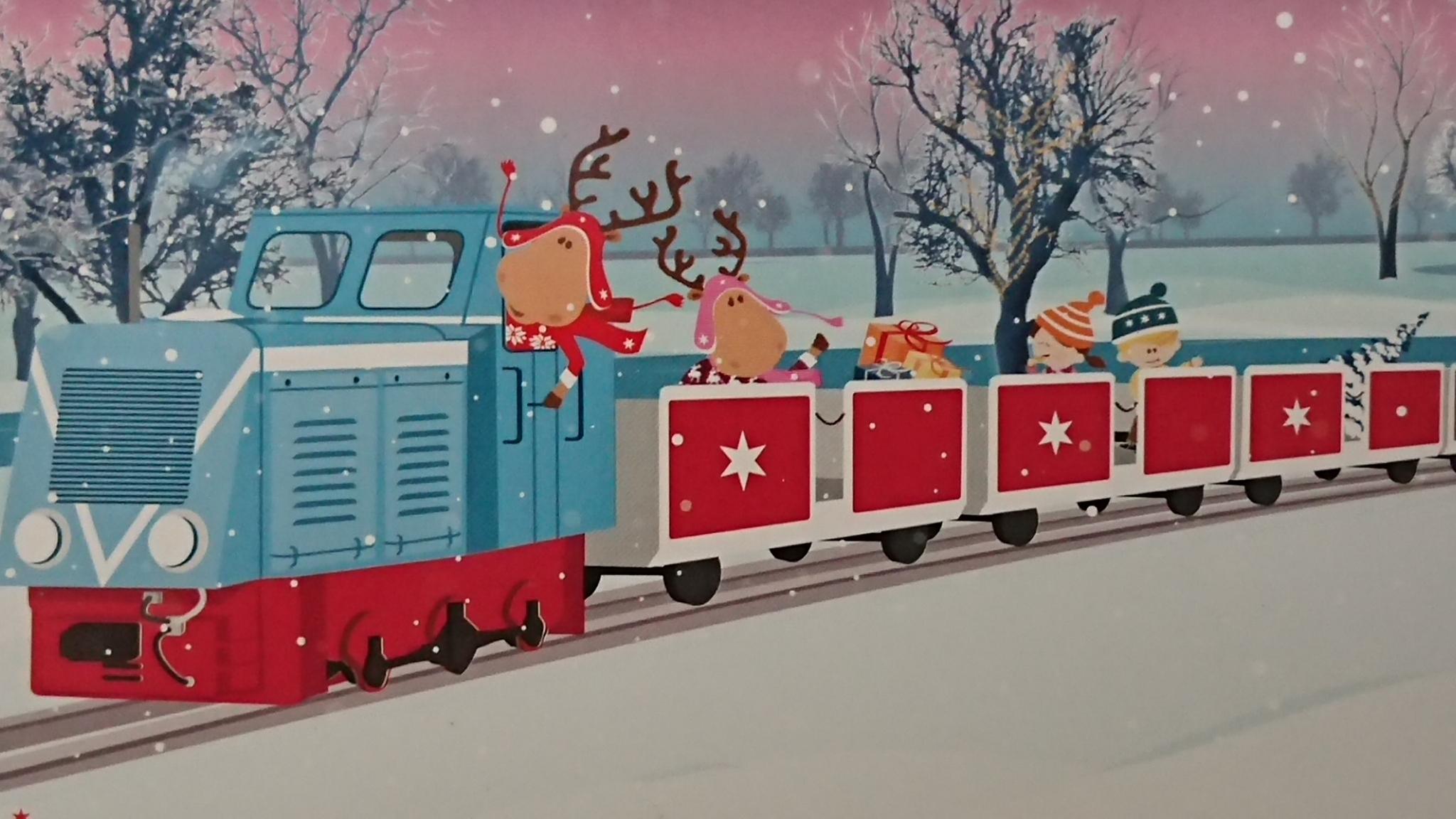 Das Weihnachtsmarkt.Nikolausfahrten Beim Peißnitzexpress Mit Weihnachtsmarkt Maskottchen